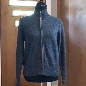 Karen Scott petite Gray zip-up wool sweater